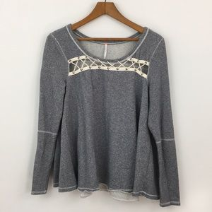 Free People rope laced pullover top